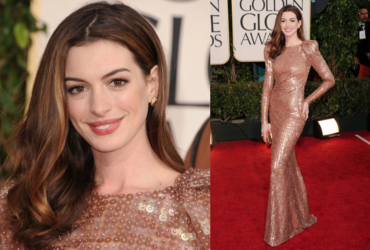 anne hathaway golden globes dress back. Anne Hathaway graced down the